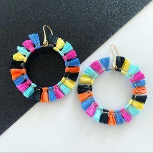 Colorful Summer Dangling Raffia Hoop Earrings